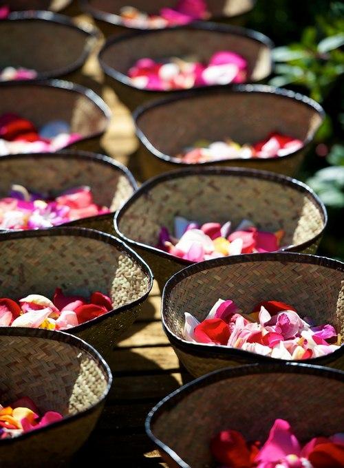 Blessing flowers petals at bhikkhuni ordination
